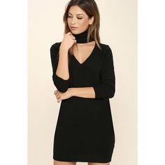 Sweetest Devotion Black Turtleneck Sweater Dress ($28) ❤ liked on Polyvore featuring dresses, black, longsleeve dress, long-sleeve turtleneck dresses, turtle neck dress, turtleneck dress and long sleeve turtleneck