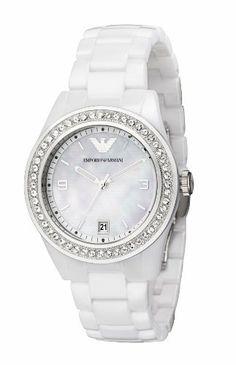 Emporio Armani Ladies White Ceramic Watch with White Dial and Stone Set Bezel Emporio Armani. $609.00. Date Window. Stone Set Bezel