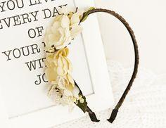Haarband Haarreif Hochzeit Vintage Blumenkranz Handmade DIY Taufe Oktoberfest Geburtstag Photoshooting Haarschmuck