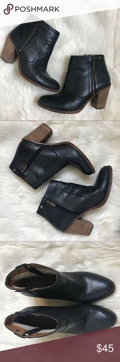 Various Sizes! Black or Brown Revel Kacy Faux Wood Bottom Clog Booties NEW