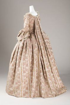 1760-1780, France, Robe à la Française, Silk plain weave with supplementary warp patterning; silk woven-braid trim, LACMA