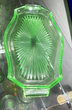 Green Depression Glass Dresser Tray
