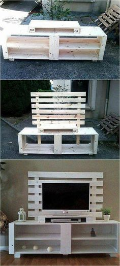 Recycled Pallet If you have pallets available at home, then don't rush to the store to get the TV cabinet for the new home. Use the recycled wood pallets to create a TV cabinet like the one presented as it is simple to create and it looks amazing. Recycled Pallets, Recycled Wood, Wood Pallets, Buy Pallets, Pallet Benches, Pallet Tables, 1001 Pallets, Pallet Wood, Wood Pallet Furniture