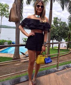 conjunto top cropped e short saia fabulous - short fabulous