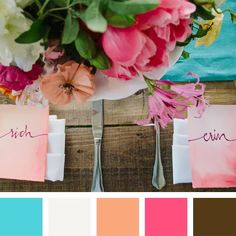 (04) ⚜️⚜️ Teal + White + Peach + Fuchsia + Brown Color Pairings We Love (You Will Too!) (The Knot)