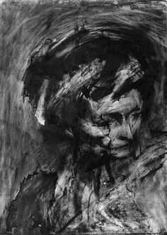 Frank Auerbach ~ Head of Gerda Boehm, 1961 (charcoal) Frank Auerbach, Abstract Portrait, Portrait Art, Life Drawing, Painting & Drawing, Painting Prints, A Level Art, Drawing Techniques, Figurative Art