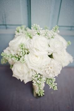 White rose bouquet with White Veronica. Photo by The Nichols.  #whiterose #whiteveronica