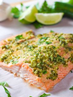 Lime and Garlic Salmon! Just a few ingredients and you have dinner! #Paleo #Whole30