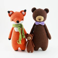 Fox and bear crochet patterns by Little Bear Crochets: www.littlebearcrochets.com ❤️ #littlebearcrochets #amigurumi