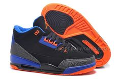 566c37dd333b Women Air Jordan 3 Girls Black Blue Orange GS Size