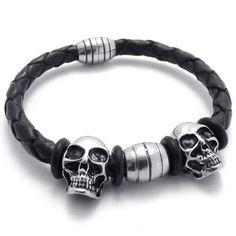 KONOV Jewelry Vintage Silver Stainless Steel Gothic Skull Magnetic Clasp Black Leather Mens Biker Bracelet: KONOV Jewelry: Jewelry