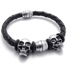 KONOV Jewelry Vintage Silver Stainless Steel Gothic Skull Magnetic Clasp Black Leather Mens Biker Bracelet: KONOV Jewelry: Jewelry