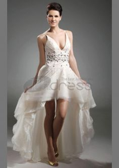High Low Tulle Organza A-line V-neck Sexy Prom Dress High Low Prom Dresses, Formal Evening Dresses, Wedding Dresses For Older Women, V Neck Cocktail Dress, Cocktail Dresses, Stunning Wedding Dresses, Special Occasion Dresses, Ball Gowns, Bridesmaid Dresses