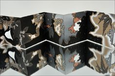 Nocturnal-Diurnal Accordion Book by Peter Gerakaris. 4 x 4 inches (when closed). Dimensions variable when open. Pen, ink, gouache on paper and wood. 2011