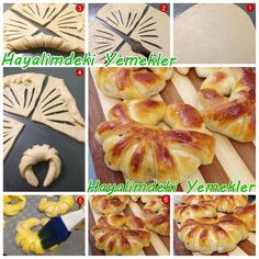 pastry dough with a thin filling of soft cheese, sliced with vents and rolled up like a croissant Donut Recipes, Bread Recipes, Cooking Recipes, Pan Relleno, Bread Shaping, Bread Art, Bread And Pastries, Food Decoration, Turkish Recipes