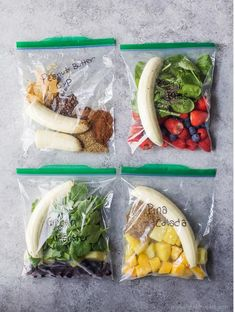 4 Easy Smoothie Packs Recipes that can be made ahead and frozen for quick use! Each smoothie is loaded with nutrients, protein and fiber Plus are kid approved These smoothie packs are the perfect start to a healthy new year! is part of Smoothie packs - Freezer Smoothie Packs, Smoothie Prep, Easy Smoothie Recipes, Easy Smoothies, Fruit Smoothies, Easy Healthy Recipes, Healthy Drinks, Healthy Snacks, Smoothie Detox