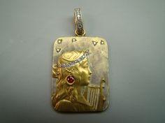18K Gold Art nouveau style enamel pendant with diamonds by Xidni, $950.00 Beautiful!