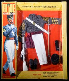 The West Point Cadet was released in 1967 and available until The original release was in a window box, but was packaged in a photo box in Gi Joe, Big Blue Whale, Vintage Toys 1970s, Barbie Clothes, Barbie Outfits, Military Figures, Sideshow Collectibles, Childhood Toys, Toy Soldiers