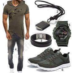 Cooler Street-Style für Männer mit Ozonee Shirt-Hoodie, Anhänger, Fossil Armband, Rock Creek Jeans, Casio G-Shock Uhr und NDB Sneakern.