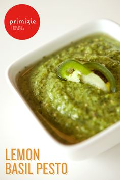 Zesty lemon and basil come together for this Lemon Basil Pesto. It's the perfect sauce for a more delicate pasta like angel hair or for a family favorite like farfalle. It also tastes great spread on your favorite sandwich or as a dip with a crispy snack. Just serve with a crispbread like Simply Salted Primizie and presto! This pesto will make you a hit at dinnertime or your summer parties.
