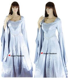Medieval Silver Arwen Guinevere Game of Thrones Dress Gown Costume - M/L 10-12   | eBay