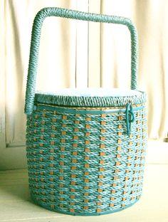 Vintage Aqua Sewing Basket with Darning Egg.