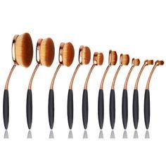 Gold Oval Makeup Brush Set