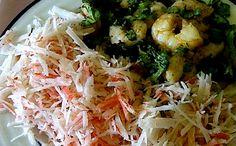 Receita de camarão com salada de Kani Kama para a fase ataque da dieta dukan.