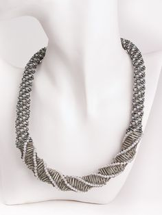 Beaded Necklace with silver white Crystals, 17.3 inch Hand stitched Beadwork necklace, grey white beads, bead Rope Necklace, OOAK necklace,