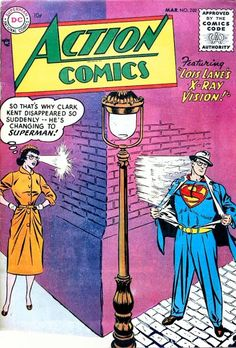 Superman, Tommy Tomorrow & Congo Bill Stories, Lois Lane Cover & Story W.Boring Cover & Art E.Smalle J. First Superman, Superman Action Comics, Marvel Comics Superheroes, Superman Comic, Batman And Superman, Superman Family, Dc Comic Books, Vintage Comic Books, Comic Book Covers