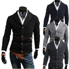 Men V-Neck Cardigan Knit Casual Slim Pullover Stand Collar Sweater