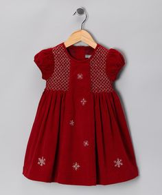 Take a look at this Red Snowflake Smocked Corduroy Dress - Infant & Toddler by Les Petits Soleils on #zulily today!