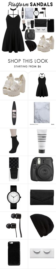 """""""platform sandals"""" by docmartenslovah ❤ liked on Polyvore featuring WithChic, Maybelline, Miss Selfridge, Pirette, Gucci, Fujifilm, LULUS, Vans, Rick Owens and Maison Margiela"""