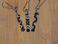 Native American beaded peyote stitch zipper pulls assorted design pattern Black Gold White