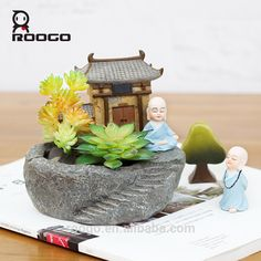 Check out this product on Alibaba.com APP Roogo resin micro landscape temple monk zen meditation bonsai pots for wholesale