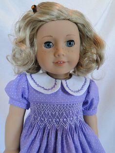 Hand Smocked Spring Dress for American girl doll
