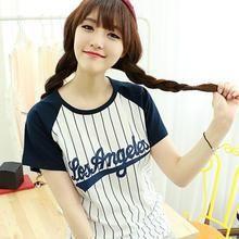 Dodostyle - Pinstriped Baseball Short-Sleeve T-Shirt