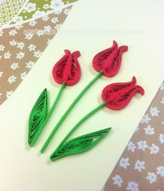 Quilled Red Tulips