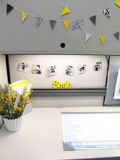 Cute idea for your work cubicle! Even like the pops of yellow.