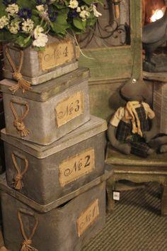 Tin boxes stacked