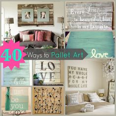 40 Ways to Pallet Art ! @Debbie Romrell Gardners 2 Bergers