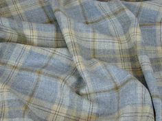 100% Wool Tartan Plaid Cornflower Blue Curtain & Upholstery Fabric