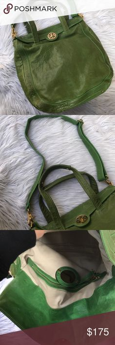 "TORY BURCH ALL LEATHER HUGE BAG CROSSBODY PURSE 👛 100% authentic Dimensions are 14"" wide , 16"" long , 30"" long when strap drop is included ❤️ Tory Burch Bags"