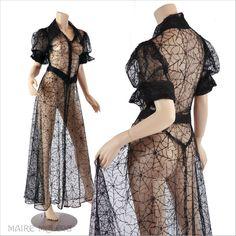 1930's Dress // Vintage 30's Spider Web Net Lace Dress Peignoir