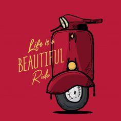 """life is beautiful ride"" by Chris olivier Vespa Illustration, Indian Illustration, Beach Illustration, Life Image, Bike Sketch, Image Deco, Indian Art Paintings, Bike Art, Good Morning Images"