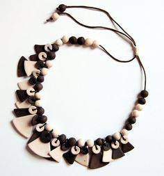 terracotta necklace with triangles  unique piece by Egeo on Etsy, €85.00