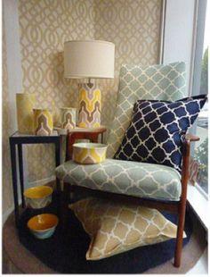 Jill Rosenwald fabric on Lotus Bleu chairs.