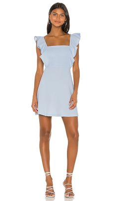 Shop for BCBGeneration Ruffle Sleeve Square Neck Dress in Baby Blue at REVOLVE. Good Attitude, Other Outfits, Crepe Fabric, Revolve Clothing, Bcbgeneration, Ladies Dress Design, Pop Fashion, Ruffle Sleeve, Dresses For Work