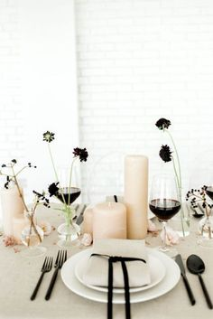Confession: I was not prepared to love a black and beige wedding color palette as much I love it seeing this wedding shoot! Sophisticated and regal, this wedding editorial checks all the marks for a fine art wedding that is welcoming and romantic at the s Wedding Table Centerpieces, Wedding Table Settings, Flower Centerpieces, Blush Centerpiece, Graduation Centerpiece, Centerpiece Ideas, Quinceanera Centerpieces, Ceremony Decorations, Beige Wedding