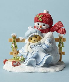 Look what I found on #zulily! Bear with Sled & Snowman Figurine #zulilyfinds